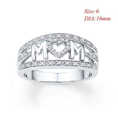 925 Sliver Ring Crystal Rhinestone Heart MOM Ring Best Gift for Mother Rings