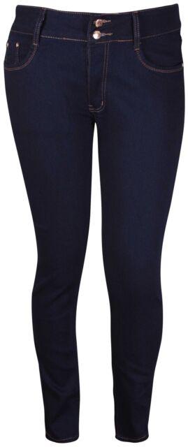 Womens Plus Size Straight Leg Ladies Stretch Denim Pocket Pants Jeans Trousers