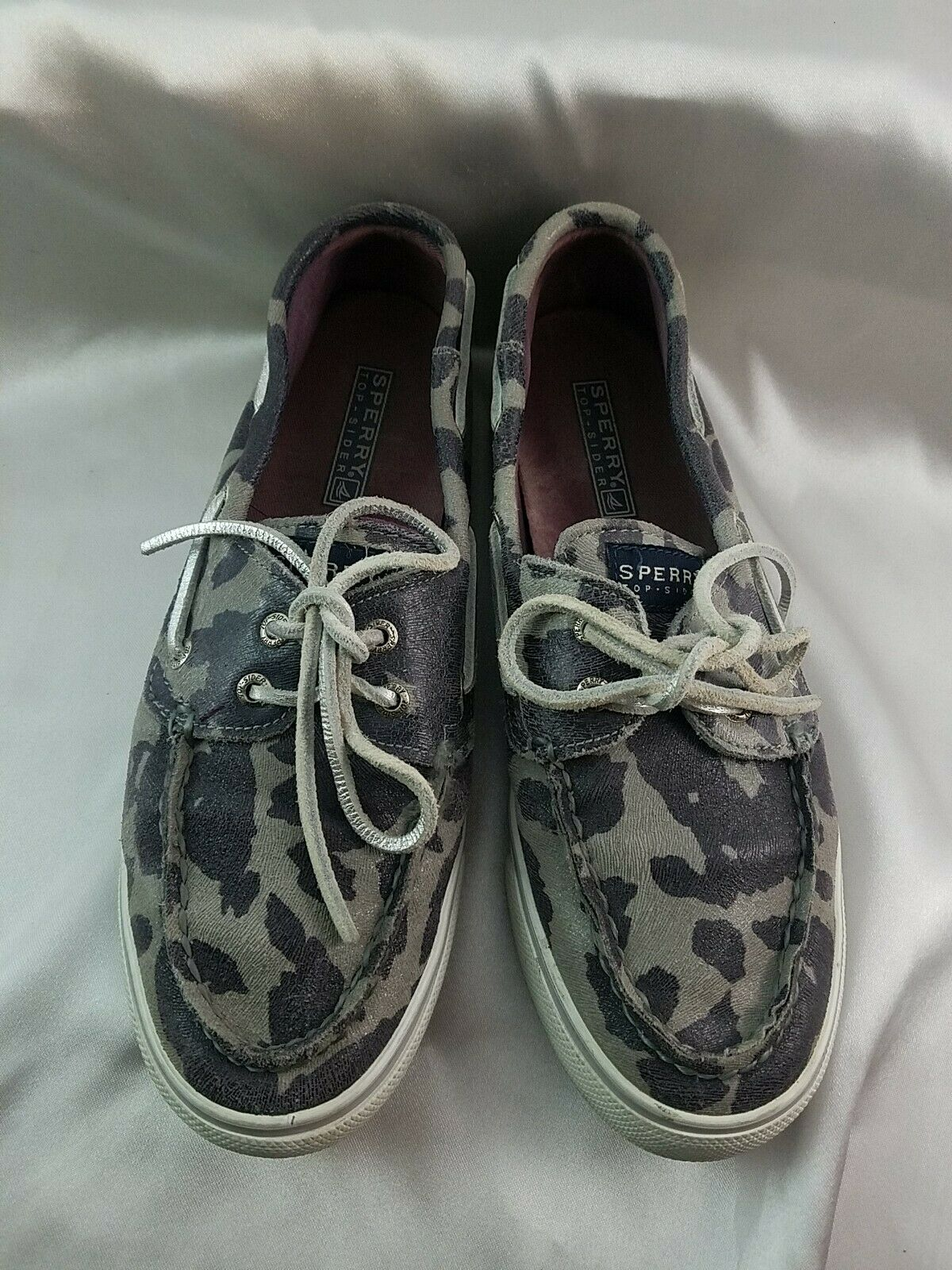 Sperry Top Sider Boat Shoes Leather Multi Gray Cheetah Print Women's 7.5M
