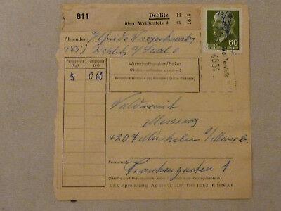 """Ddr Ef 60 Pfg Ulbricht Poststelle """"4851 Dehlitz 15 über Weißenfels 2"""" Paketkarte Eleganter Auftritt Briefmarken Briefe & Kartenposten"""
