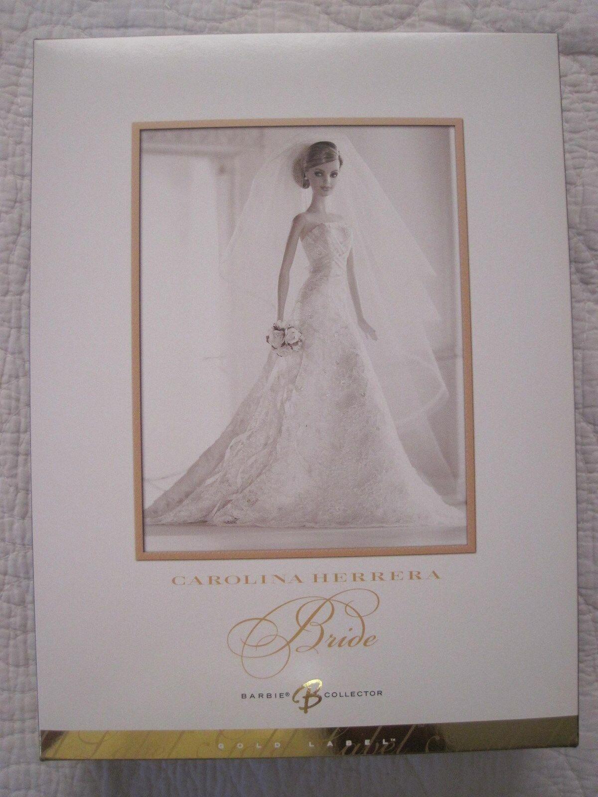 Barbie-Carolina Herrera-Diseñador Novia-oro Label.. Nuevo En La Caja