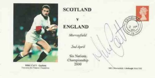 MIKE CATT SCOTLAND v ENGLAND 2000 SIGNED RUGBY COVER