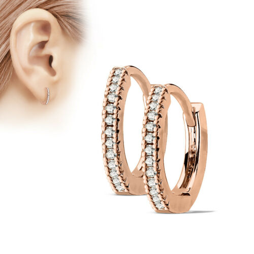 MINCE HOOP Boucles d/'oreilles CALIN acier chirurgical Clear Stone Or//Argent hypoallergénique