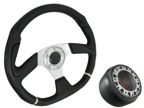 SILVER D1 STEERING WHEEL with RENAULT 5 1984-1996 boss kit