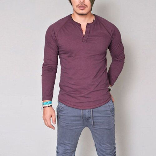 Fashion Men/'s Slim Fit V Neck Long Sleeve Muscle Tee T-shirts Casual Tops Blouse