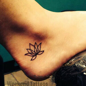 Small Black Lotus Flower Temporary Tattoo Fake Transfer Sticker Art
