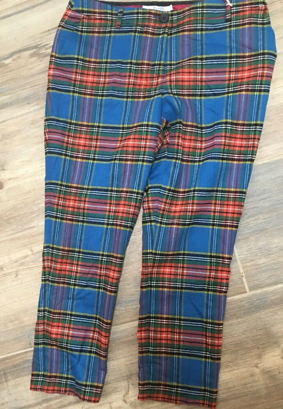 59. New Boden Blau Plaid Tartan Trousers Pants 4