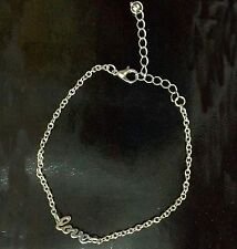 """Bijou fantaisie mode idée cadeau : Bracelet / chaine de cheville argentée """"love"""""""