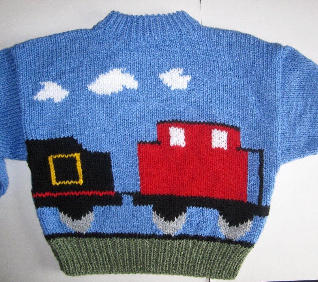 Train Motif Childrens Sweater 2~8 years Thomas Fans! Aran Knitting Pattern ...