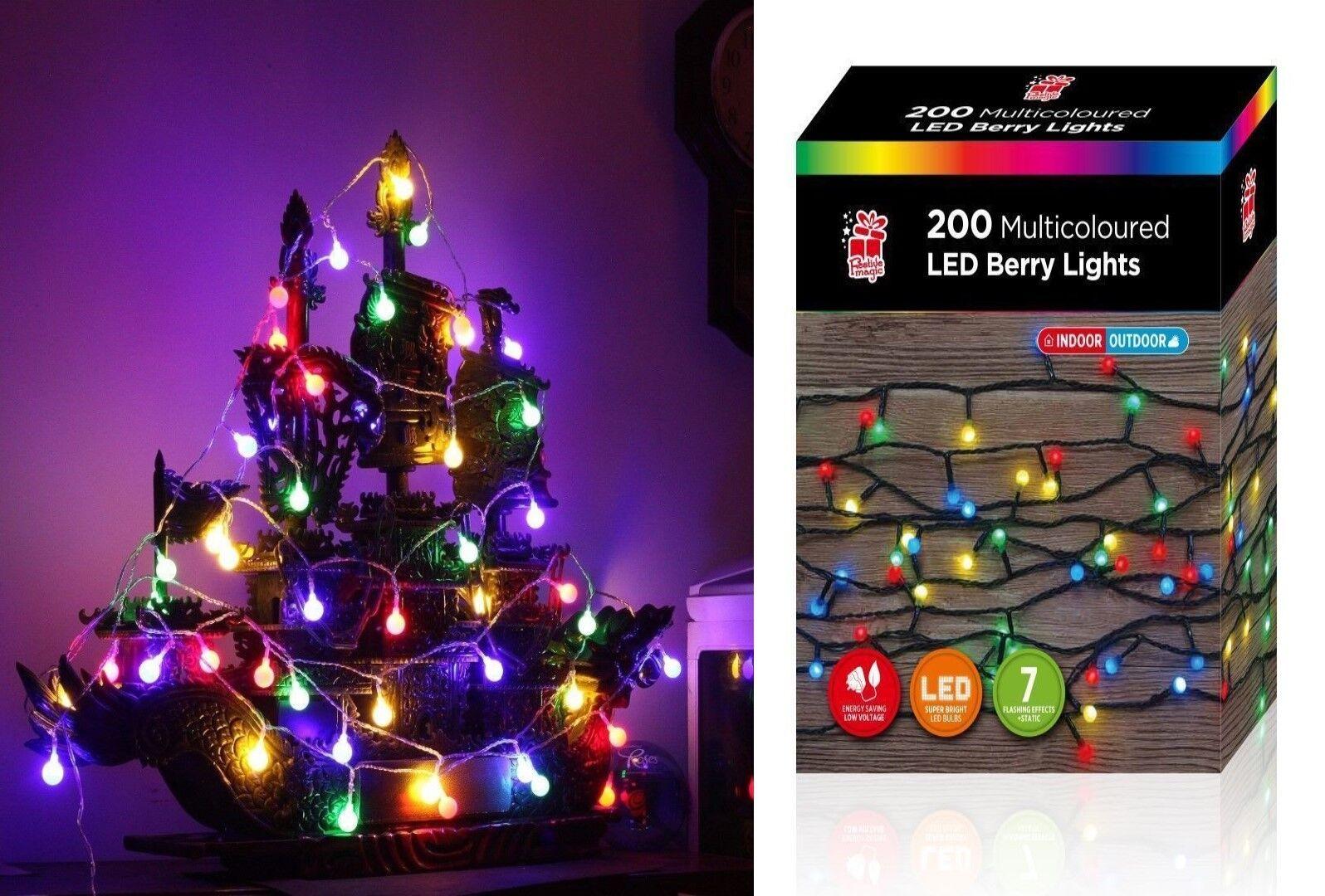 200-100 BERRY LED CHRISTMAS LIGHTS XMAS BALL SHAPE FAIRY GIFT MULTI COLOUR IN OU