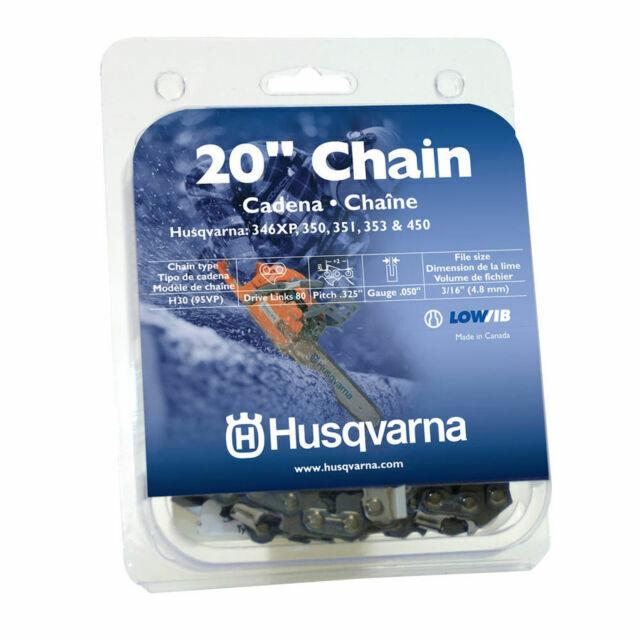"2 Genuine OEM Husqvarna 531309680 H30-80 20/"" Chainsaw Chain Loops .325/"" .050/"""