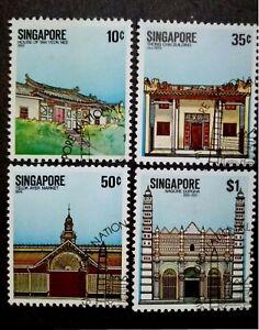Singapore-1984-National-Monuments-Complete-Set-4v-Used-1