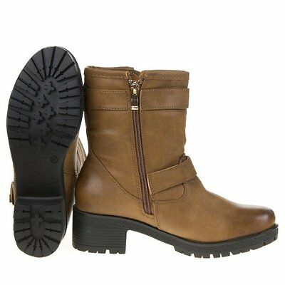 Damenstiefel Schuhe Stiefel, BOOTS Stiefeletten, Leder Optik Camel [BJ 16]
