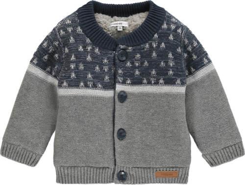 NOPPIES Strickjacke Strick Jacke gefüttert marine grau weiß Jungen 80 86