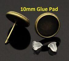 10 pcs. Antique Bronze Earring Posts Settings Bezels Tacks - 10mm Glue Pad
