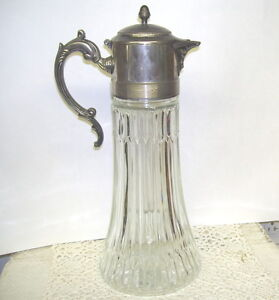 ANTIQUE GLASS PITCHER W/ SILVER LID