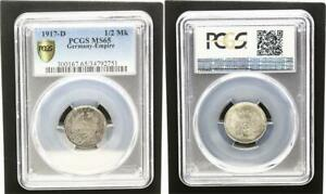 1/2 Marco Plata 1917 D Prägefrisch-stempelglanz PCGS Certificado PCGS MS65