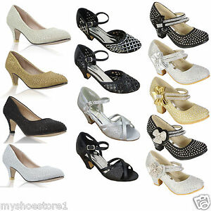 Image Is Loading GIRLS LOW HEEL PARTY MARY JANE DIAMANTE EVENING