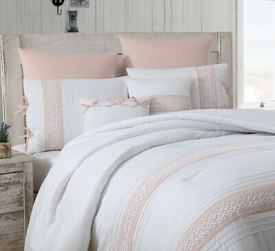 Deluxe Embroidered Floral Pleated Tan Taupe white 7 pcs Cal King Queen Comforter