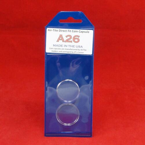Individual Retail Pkg Model A26 Qty 25 AirTite Direct Fit Coin Holder Capsules