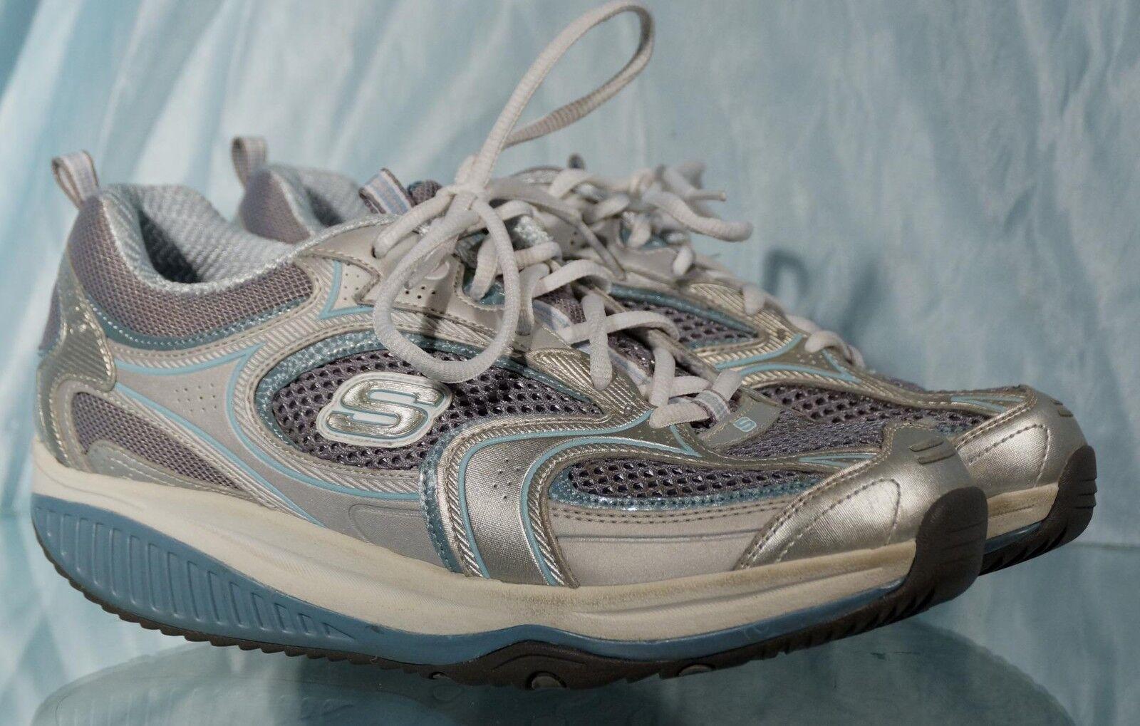 Nice Silver & Blue SKECHERS Lace-Up Shape-Ups Shoes US 8 CM 25