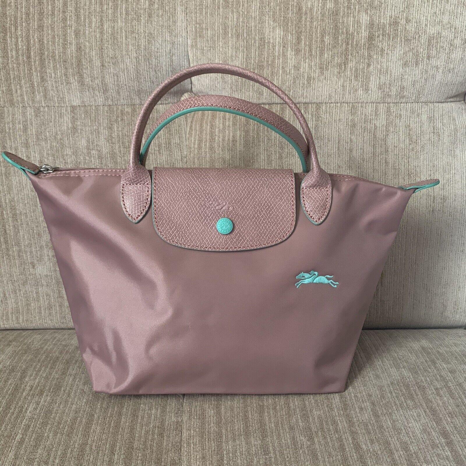Details About Auth Longchamp Le Pliage Club Small Antique Pink Nylon Short Leather Handle Bag