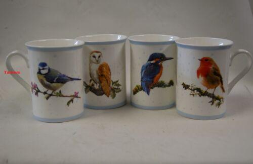 Fine China Set of 4 British Bird Mugs Blue Tit Kingfisher Owl Robin BNIB