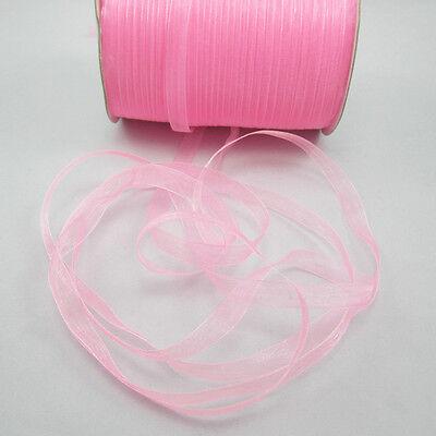 """NEW Christmas hot sale 50 Yards 3/8"""" Edge Sheer Organza Ribbon Craft Satin Pink"""