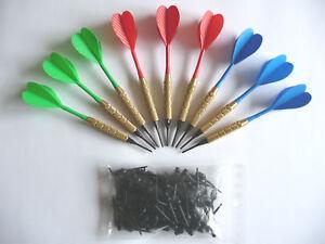 9 flechettes darts apointes plastiques + 100 pointes