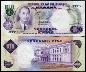 PHILIPPINES-100-PISO-PESO-P-147-SIGN-8-UNC-W-FOXING