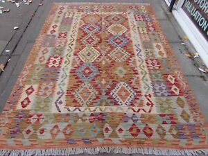 Kilim-Old-Traditional-Hand-Made-Afghan-Oriental-Red-Wool-Large-Kilim-247x181cm