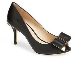 Women-039-s-Shoes-Louise-et-Cie-NADIA-Peep-Toe-Pumps-Heels-Bow-Detail-Leather-Black