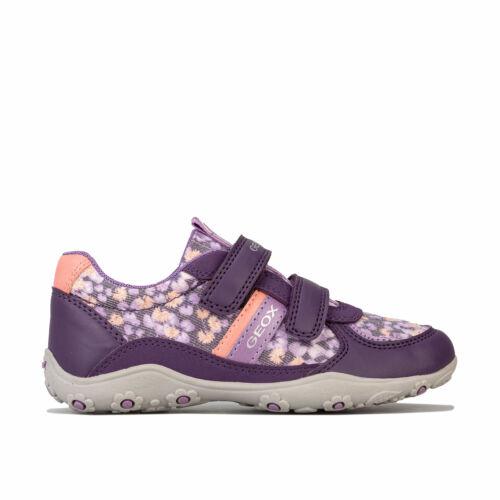 Hook And Loop Fastening Children Girls Geox Adalyn Trainers In Lilac Floral