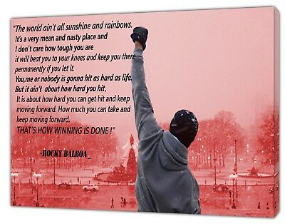 ROCKY BALBOA QUOTE  REDDISH  PICTURE  PRINT ON FRAMED CANVAS WALL ART DECOR