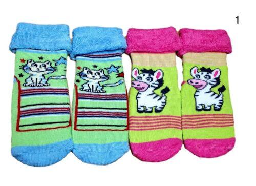 Baby Girls Toddler Terry Cotton Warm Soft Non Slip Winter Socks 6-18M 2Pairs