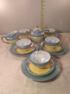 VTG-Art-Deco-RARE-COLORS-Japan-Lusterware-Opalescent-TURQUOISE-AND-YELLOW-18pcs