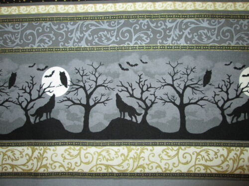Crows Owls Wolves Howling Moon Detailed Metallic Gold Border Cotton Fabric FQ