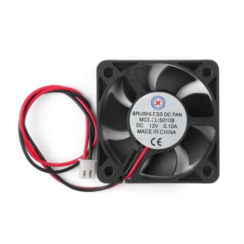 50mm x 10mm 5010B DC 12V 0.1A 2 Pin Brushless Cooling Fan Ball Bearing US