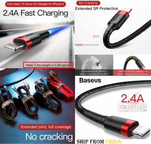 best loved dc604 9dde1 Details about FAST charging REAL Baseus USB Lightning Cable iPhone 7 8 X XR  MAX Charger cord
