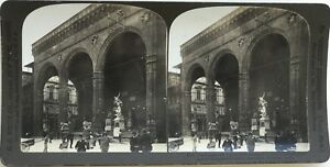Loggia-Dei-Lanzi-Florence-Firenze-Italia-Fotografia-Stereo-Vintage