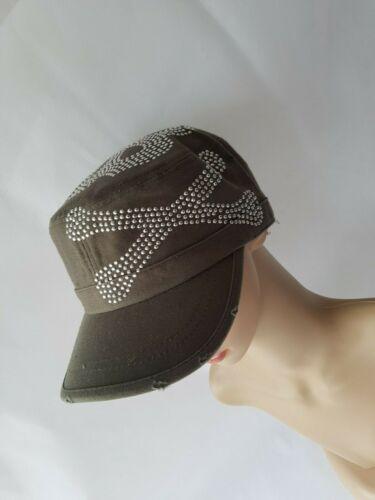 Military Cap mit Nieten Vintage Look Strasss  Totenkopf schwarz oder oliv Schild