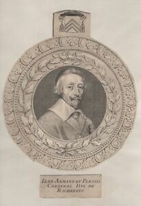 Jean-Armand-du-Plessis-Cardinal-duc-de-Richelieu-Gravure-originale-XVIIe