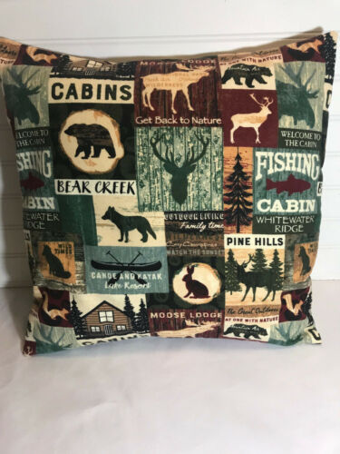 "Bear Creek Cabin Patch Flannel Pillow Cover//12/"" x 12/"""