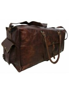 Small-Large-Leather-Bag-Travel-Duffle-Men-Gym-Luggage-Vintage-Overnight-Weekend