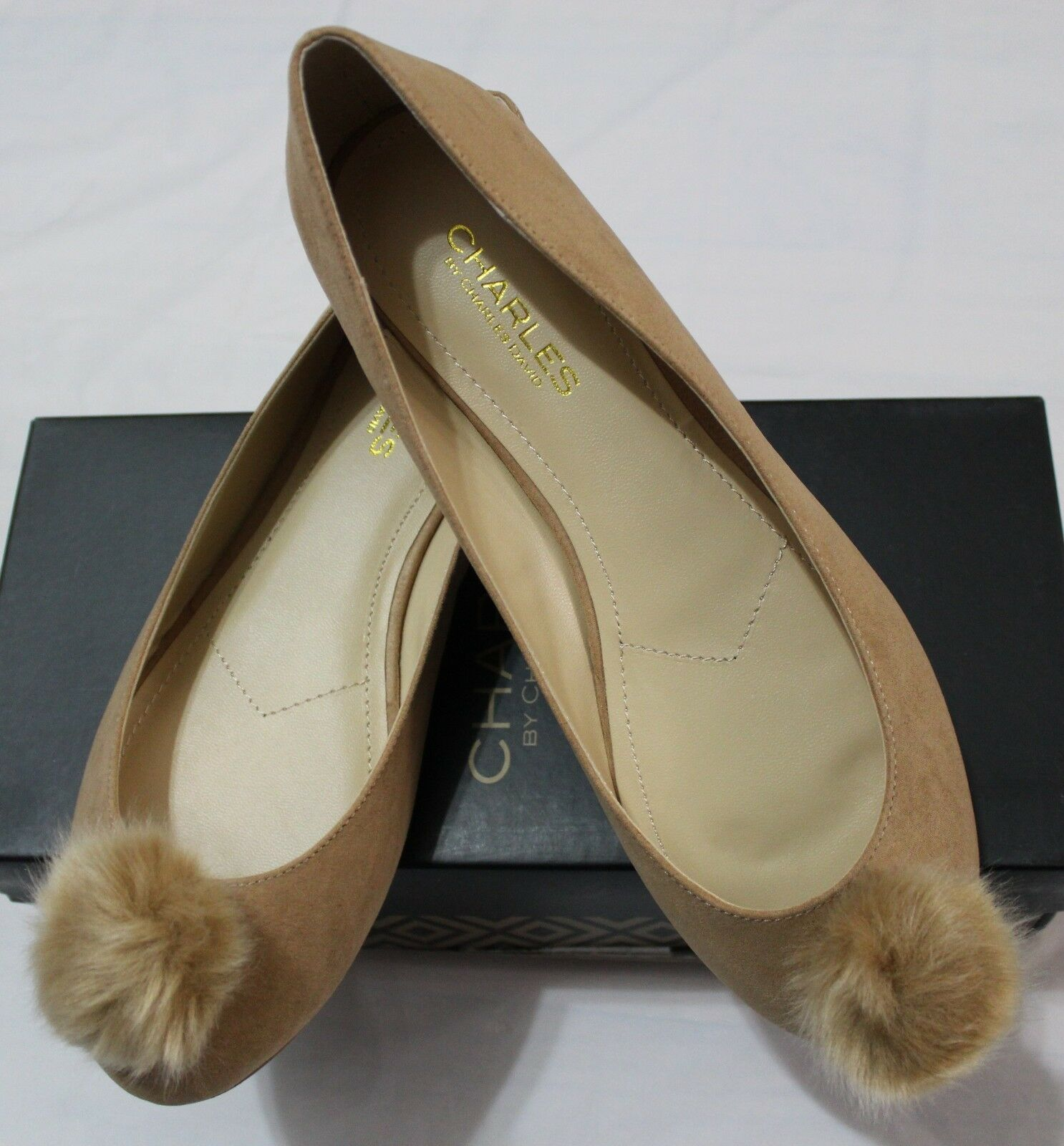 120 CHARLES BY CHARLES DAVID DANNI CHSTNT MCROSUEDE-FAUX FUR SHOES US 8.5M