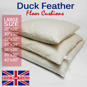 Large-Square-Duck-Feather-Floor-Cushion-Pad-Insert-Filler-Inner-Handmade-in-UK