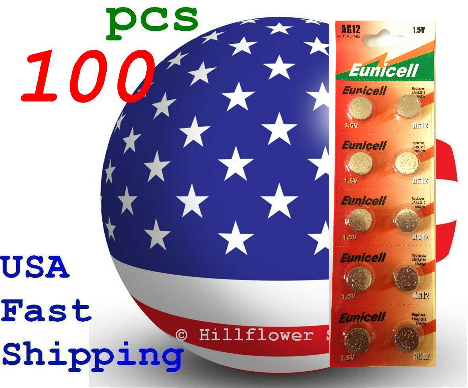 100 pcs AG12 LR43 LR1142 G12 386A 301 186 Card 1.5V 0% Hg Alkaline Battery