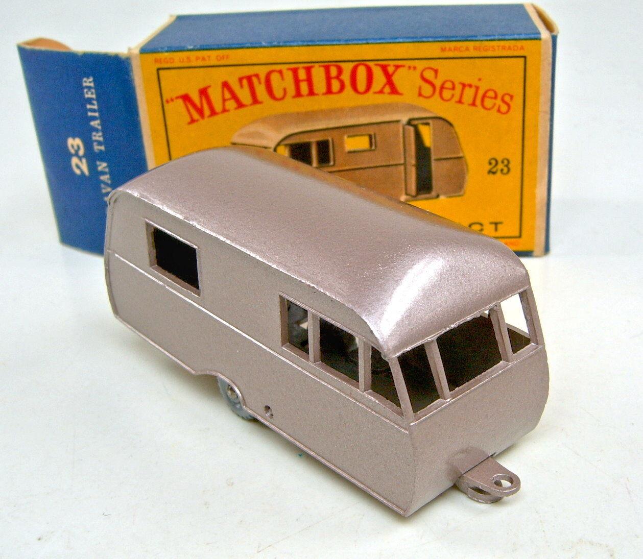 MATCHBOX 23 C Bluebird Caravane marron metallic argentées argentées argentées roues TOP dans