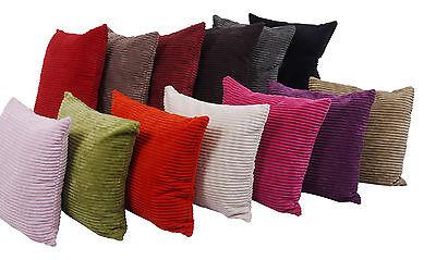 """A Pair Of 18""""x18"""" Plain Super Soft Chenille Stripe Cushion Covers"""