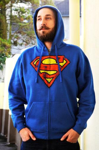 Logo Superhero DC Comics Superman Zip Hoodie Hooded Sweatshirt blue